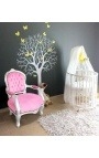 Fauteuil baroque enfant velours rose et bois argent