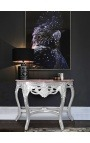 Baroque console with silvered wood and red marble