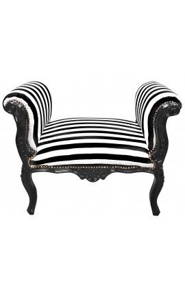 Banquette baroque de style Louis XV tissu rayé noir et blanc et bois laqué noir