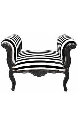Baroque Louis XV bench black and white stripes fabric and black wood