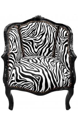 Барокко кресло bergere Louis XV в стиле полосатой ткани и черный блеск дерева