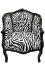 Bergere armchair Louis XV style with zebra fabric and black shine wood