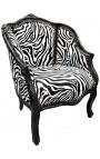Bergère de style Louis XV tissu zèbre et bois noir