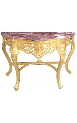 Console de style baroque en bois doré et marbre rouge