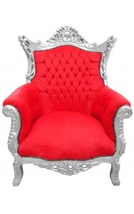 Grand fauteuil Baroque rococo velours rouge et bois argent