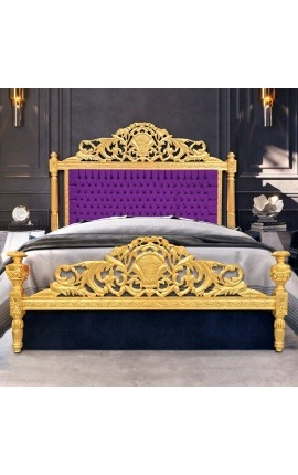 Baroque bed purple velvet fabric and gold wood