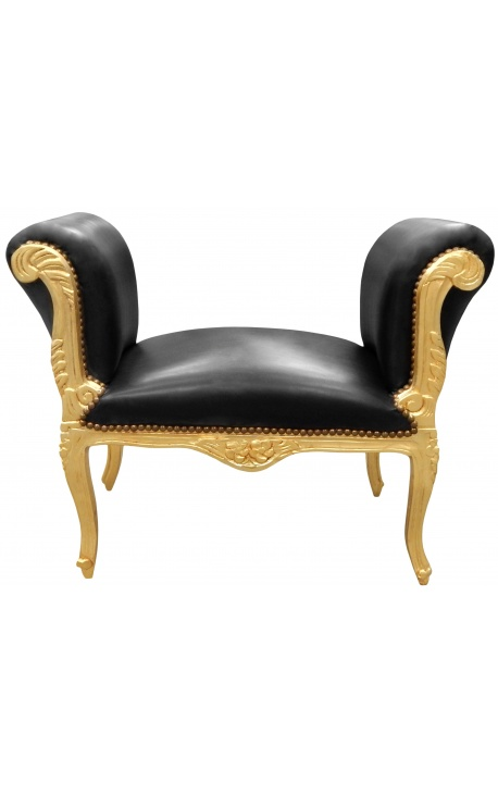 Baroque bench Louis XV style black false skin fabric and wood gold