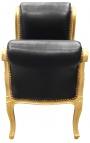 Барокко диван Louis XV стиль искусственной кожи ткани черного и позолота дерева
