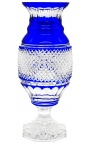 Large blue vase crystal-lined Charles X style corderoy