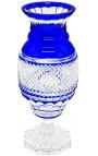 Grand vase bleu en cristal doublé de style Charles X cotelé