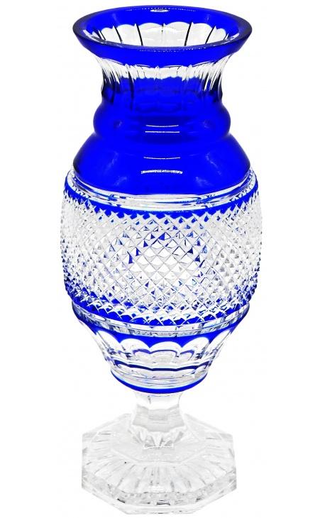 Большой голубой кристалл выстроились Карла X ребристый стиль Ваза