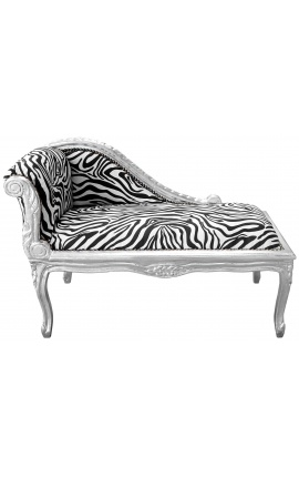 Louis XV chaise longue zebra fabric and silver wood