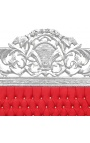 Baroque bed headboard red velvet fabric with rhinestones and silver wood