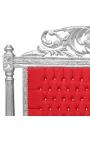 Tête de lit Baroque en velours rouge avec strass et bois argenté