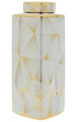 """Urne décorative """"Yarra"""" en céramique émaillé doré grand modèle"""