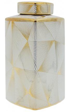 """Urne décorative """"Yarra"""" en céramique émaillé doré moyen modèle"""