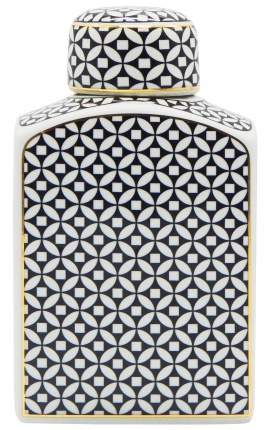 "Decorative urn ""Livalla"" rectangular in enameled ceramic gold and black"