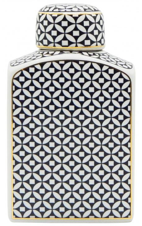 """Urne décorative """"Livalla"""" rectangulaire en céramique émaillé noir et doré"""