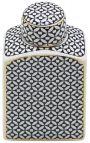 "Decorative urn ""Livalla"" rectangular in enameled ceramic gold and black"
