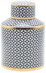 """Decorative urn """"Livalla"""" cylindrical in black and gold enameled ceramic"""