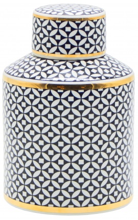 "Decorative urn ""Livalla"" cylindrical in black and gold enameled ceramic"