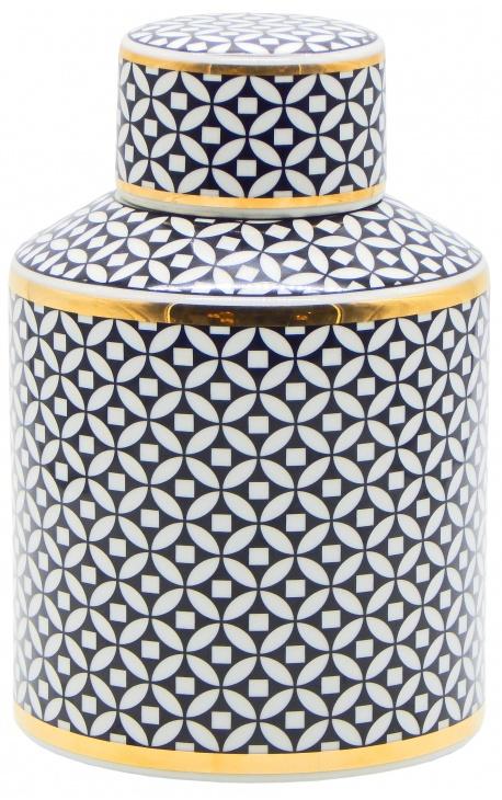 """Urne décorative """"Livalla"""" cylindrique en céramique émaillé noir et doré"""