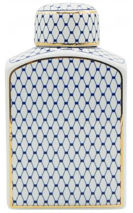 """Urne décorative """"Akoub"""" en céramique émaillé bleu et doré grand modèle"""
