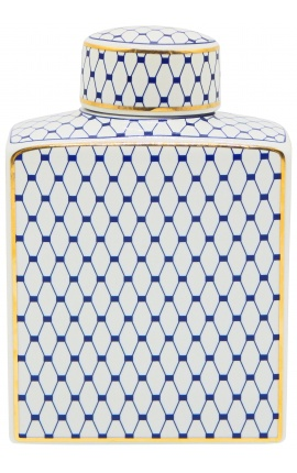 "Decorative urn ""Akoub"" in blue and gold enameled ceramic medium model"
