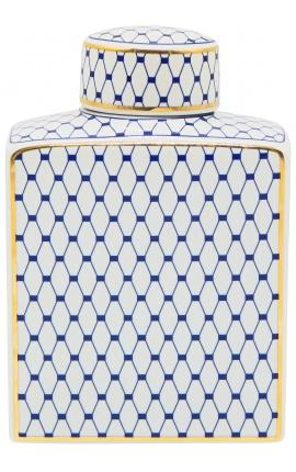 """Urne décorative """"Akoub"""" en céramique émaillé bleu et doré moyen modèle"""