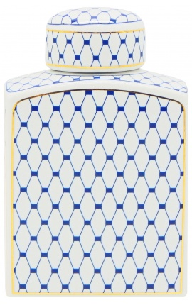 """Urne décorative """"Akoub"""" en céramique émaillé bleu et doré petit modèle"""