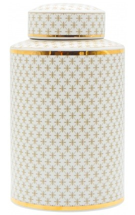 "Decorative cylindrical ""Ature"" urn in beige and gold enameled ceramic GM"