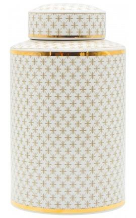 """Urne décorative """"Ature"""" cylindrique en céramique émaillé beige et doré GM"""