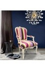 Baroque armchair of Louis XV style stripped multi-colored fabric and beige lacquered wood