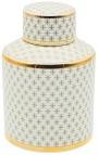 """Urne décorative """"Ature"""" cylindrique en céramique émaillé beige et doré MM"""