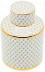 "Decorative cylindrical ""Ature"" urn in beige and gold enameled ceramic MM"