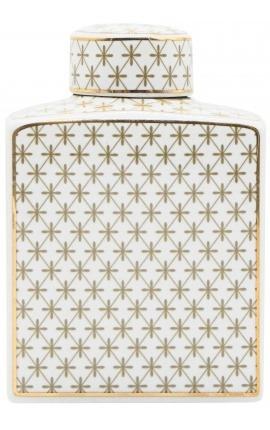 """Urne décorative """"Ature"""" en céramique émaillé beige et doré moyen modèle"""