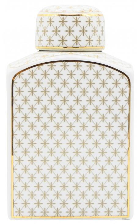 """Urne décorative """"Ature"""" en céramique émaillé beige et doré grand modèle"""