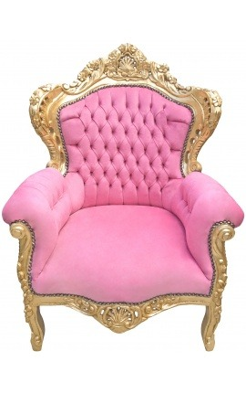 Big baroque style armchair pink velvet and gilded wood