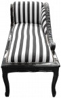 Louis XV chaise longue stripped black and white fabric and black wood