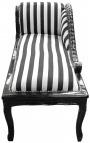 Méridienne de style Louis XV tissu rayé noir et blanc et bois noir
