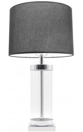 Настольная ламповая колонна «Théia» в стекле и серебре