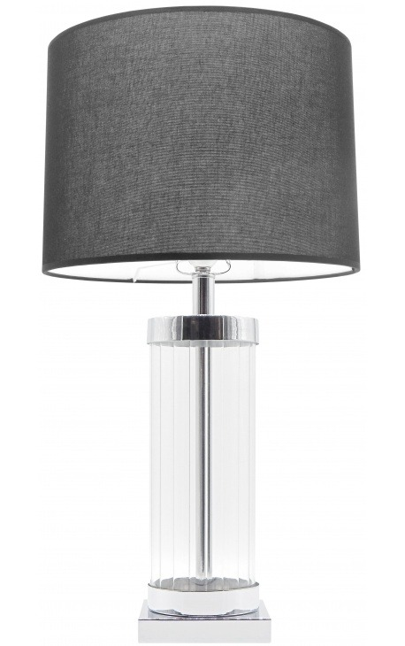 "Table lamp column shaped ""Théia"" in glass and silver metal"