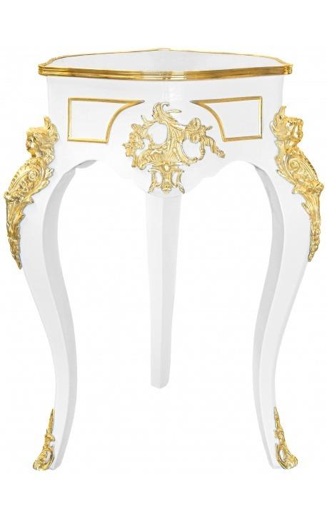 Table guéridon de style Louis XIV en bois laqué blanc avec bronzes