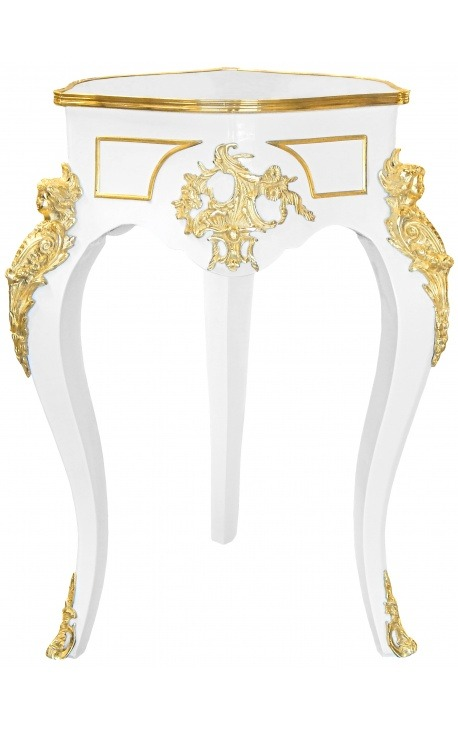 Столик стиль Louis XIV из белого лакированного дерева с позолоченной бронзой