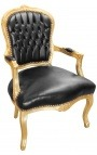 Baroque armchair of Louis XV style black faux leather and gold wood