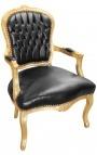 Fauteuil baroque de style Louis XV simili cuir noir et bois doré