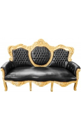 Baroque sofa black leatherette and gold wood