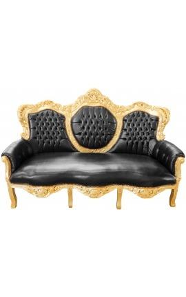 Барокко диван кожаный эпидермис черный и золотой дерево