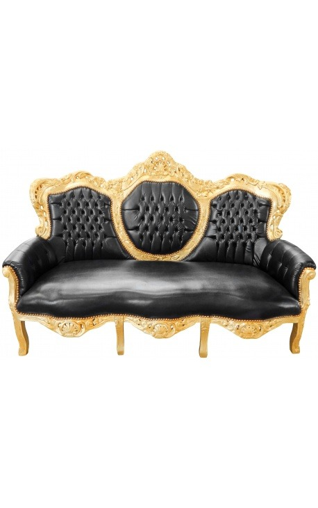 Baroque sofa false skin leather black and gold wood
