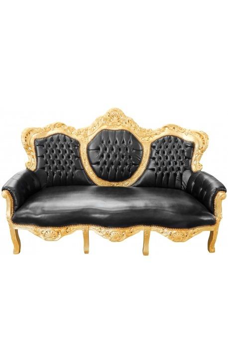 Canapé baroque tissu simili cuir noir et bois doré